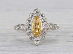 .42 Carat Edwardian Yellow Diamond Ring