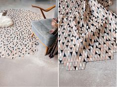 'Coloured Wooden Rugs' by Elisa Strozyk. Dyed wood applied to fabric creates a sublime wooden textile.