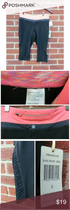NWT Workout Capris /Ladies Gym Pants Small +NWT & never worn! I love this brand, compare it to your favorite Lululemon/Nike/Reebok/Under Armour! Perfect polyester/spandex blend for comfort and wicking sweat. Zip pocket on back of waist band, ruched at ankles, knee length/short capri. True Coral color in pic #2. Fits Ladies XS & Junior's Small best.  +Bundle with my other men's/women's items or kids/baby clothes :-) Please ask any questions before buying. Smoke & pet free home. Thanks for…