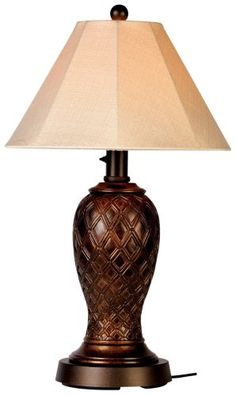 Monterey 937 Bronze 34-inch Table Lamp Antique Linen Shade Patio Living Concepts all resin construction. Unbreakable polycarbonate waterproof light bulb enclosure. Weatherproof cord and plugs are 12 ft on the floor lamps and 16 ft on the table lamps. heavy weighted bases. two level dimming switches. List Price: $405.00 Price: $293.50 Free Shipping for Prime Members You Save: $111.50 (28%)