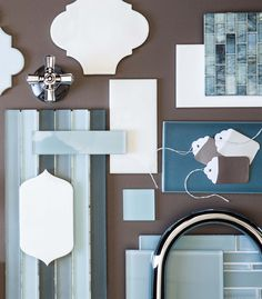 Summer Colors - Ocean Blues, Cottage Whites, White Sand Brown - perfect for a beach house bathroom. Tile from Walker Zanger.