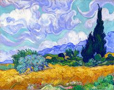 Van Gogh, Vincent (1853-1890) - 1889 Wheat Field with Cypresses (National Gallery, London, England) Paul Gauguin, Impressionist Paintings, Oil Paintings, Amazing Paintings, Painting Art, London Painting, Paintings Online, Original Paintings, Original Art