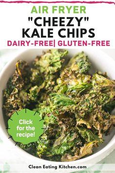 Air Fryer Recipes Vegan, Air Fryer Healthy, Air Fryer Recipes Kale Chips, Vegetable Recipes, Vegetarian Recipes, Healthy Recipes, Free Recipes, Kale Chip Recipes, Whole Food Recipes
