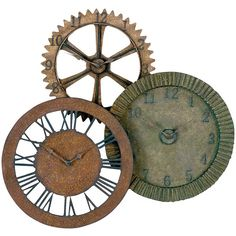 """Uttermost Rusty Gears Clock 2.75 x 35 x 33"""", Red/Brown/Green ($273) ❤ liked on Polyvore featuring home, home decor, clocks, steampunk, fillers, decor, backgrounds, metal gear clock, green clock and green home decor"""