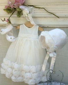 Ivory-Christening Dress// baby girl dress by ElenaCollectionUSA
