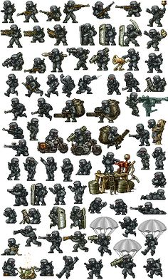 This is the template for the soldiers tat I've made/recoloured. 'Totenkeppe Security Forces' a Division of 'Halduron Heavy Industries' Sprite Wars - Trooper Template 2d Game Art, Video Game Art, 2d Art, Game Character Design, Game Design, Arte 8 Bits, Military Drawings, Pixel Animation, 8bit Art