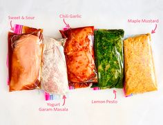 Easy formulas for marinades that can be frozen with chicken and pork for quick weeknight dinners.