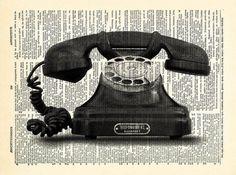 Vintage Phone Telephone Art Print Vintage Book by PrintsVariete