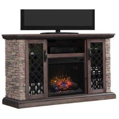 Classic Flame Capitan Media Mantle in Stone