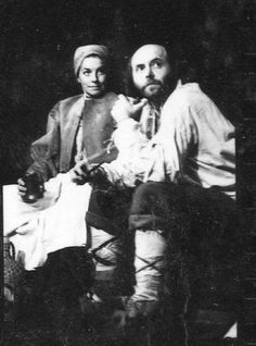Margaret Robertson as Mother Courage and Milos Kirek as The Cook - Internationalist Theatre
