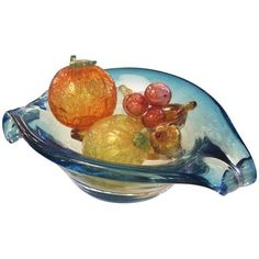 Mid-Century Murano Glass Bowl & Fruit - 6 Pieces ($600) ❤ liked on Polyvore featuring decorative bowls