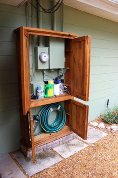 Awesome DIY Outdoor Eyesore Hiding Ideas To Beautify Your Garden Lovely Cabinet Hides Utility Box and Garden Tools House, Diy Outdoor, Home Projects, Outdoor Space, House Exterior, Armoire Makeover, Outdoor Storage, Diy Curb Appeal, Home Diy