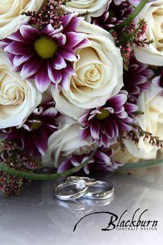 Wedding Bouquet White Roses Purple accents  www.susanblackburn.biz