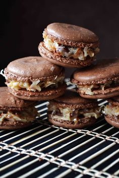 German Chocolate Macarons from @bakeaholicmama #chocolateparty