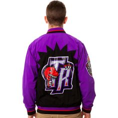 Mitchell & Ness The Toronto Raptors Warm Up Jacket in Purple ($150) ❤ liked on Polyvore featuring men's fashion, men's clothing, men's outerwear, men's jackets, jackets, purple, mens purple jacket and mens nylon jacket