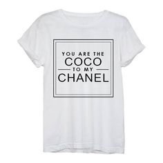Coco to my Chanel Tee ❤ liked on Polyvore featuring tops, t-shirts, shirts, tees, chanel shirt, white tee, shirt top, white top and t shirt