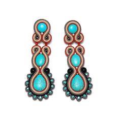 Soutache earrings turquoise brown beige shop jewelry handmade gift for sale to buy orecchini pendientes oorbellen Ohrringe brincos örhängen by SoutacheFlowOn on Etsy