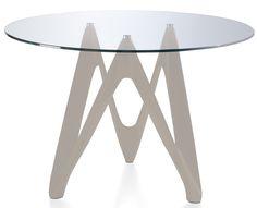 Élégante table ronde laquée taupe en fibre de verre avec plateau en Verre  de la collection Perla. Le plateau de la table de salle à manger en verre  trempé ... b9d2d4ef8470