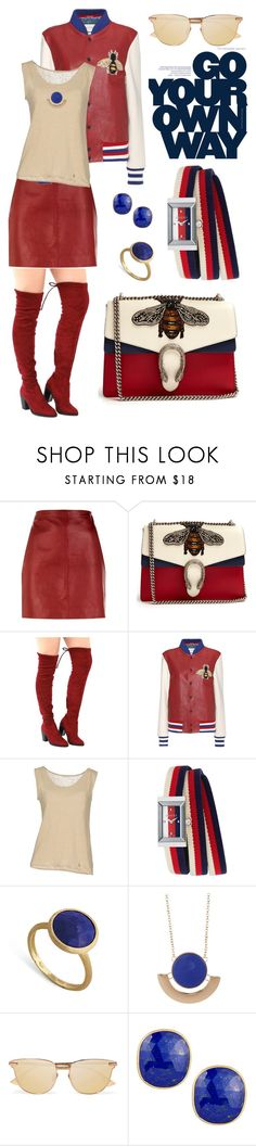 """RED SPORT"" by grettelcabrera on Polyvore featuring moda, Sandro, Gucci, HUGO, BELLEROSE, Marco Bicego, 14th & Union y Le Specs"