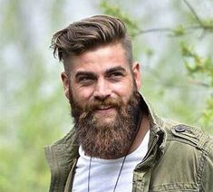 An awesome collection of the best beard styles for short beards, medium beards, long beards and everything in between. Showcasing the best beards of the best beard styles. Get ideas to grow your beard for longer or shorter styles. Undercut With Beard, Undercut Men, Undercut Hairstyles, Long Beard Styles, Best Beard Styles, Hair And Beard Styles, Mustache Growth, Beard No Mustache, Handlebar Mustache