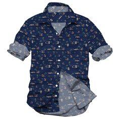 the beach in Hawaii, beach house, men's casual shirt, indigo printed shirt