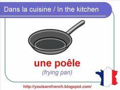 French Lesson 82 - Kitchen - La cuisine - Furniture Crockery Utensils Appliances vocabulary
