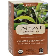 Numi Tea Organic Chinese Breakfast - Black Tea - 18 Bags - Contains Caffeine Yunnan Full-Bodied and Rich USDA Organic Certified Organic by QAI Kosher Pareve Halal This noble tea is grown in the mist-covered mountains of Yunnan province. What distinguishes this fine, organic black tea is its exquisite tigers eye color, perfect sense of balance and a lean vibrancy which makes it suitable at any time of day. Like a complex wine, it is the perfect tea for food, marrying well with a wide variety…