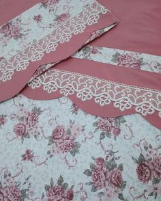 224 Likes 14 Comments hamarat eller el emeği ( on Instagr Embroidery On Clothes, Ribbon Embroidery, Embroidery Designs, Lace Bedding, Quilt Bedding, Diy Home Crafts, Sewing Crafts, Draps Design, Purple Bedroom Decor