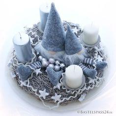 adventskranz sehr modern mit wichtel und wollkordel in grau wei zum selber machen - Grau Wei Deko Selber Machen