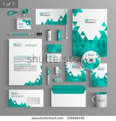 white stationery template design with green triangles. Corporate Identity Design, Brand Identity Design, Stationary Branding, Stationary Design, Letterhead Design, Brochure Design, Design Corporativo, Rollup Banner Design, Certificate Design Template