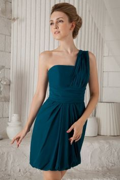 One-shoulder Sweet Blue Bridesmaids Dress - Order Link: http://www.theweddingdresses.com/one-shoulder-sweet-blue-bridesmaids-dress-twdn2657.html - Embellishments: Ruched; Length: Knee Length; Fabric: Chiffon; Waist: Natural - Price: 85.65USD