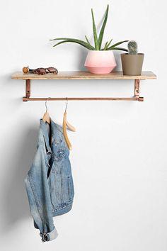 4040 Locust Copper Wood Coat Rack Shelf