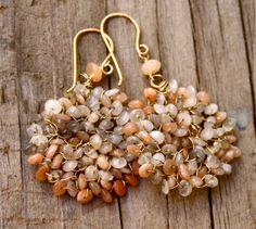 Disk earrings hoop earrings dangle earrings moonstone by chashway, $64.90