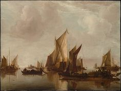 """A State Yacht and Other Craft in Calm Water"" Jan van de Capelle. on display at the MET in NYC."