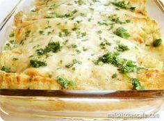 Creamy green chile chicken enchiladas