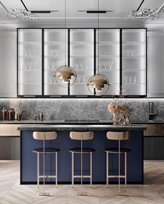 Always loved a navy kitchen! Classic combo made current with the grey marble 👌 Repost from Kitchen design by Quadro Room in Moscow, Russia Modern Kitchen Design, Interior Design Kitchen, Kitchen Decor, Interior Decorating, Navy Kitchen, Luxury Home Decor, Luxury Interior Design, Interior Design Inspiration, Quirky Home Decor