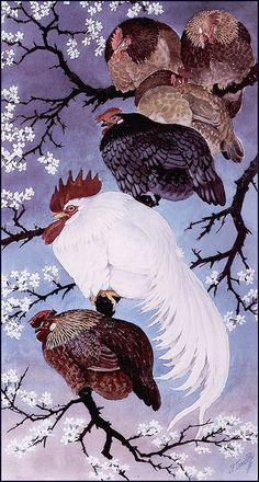 Fowl in a damson tree by Charles Tunnicliffe