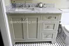 White Oak Bathroom Vanity Unit with White Carrara Marble Vanity Top for Apartment Project