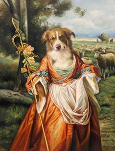 - Pet Portraits, Custom pet art by european artist Valerie Leonard Custom Dog Portraits, Pet Portraits, Costume Chien, Animal Dress Up, Wow Art, Vintage Dog, Dog Paintings, Animal Heads, Animal Fashion