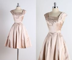 ➳ vintage 1950s dress  * champagne satin * muslin lining * off shoulder sleeves * embroidered/rhinestone bodice * metal side zipper * by Ellen