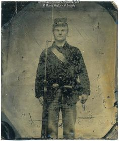 John S. Longfellow of Cornville was 19 when he enlisted in Co. D of the 24th Maine Infantry Regiment on Oct. 13, 1862. Item # 79281 on Maine Memory Network  He posed in uniform for the tintype.  His brother Horatio entered the same company and regiment. Both survived the war.  John, born about 1843, died in 1890 after suffering from the effects of swamp fever he contracted with serving in Louisiana.