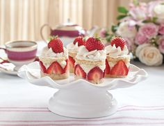 Strawberry Baby Cakes with Rose Tea-Infused Mousse
