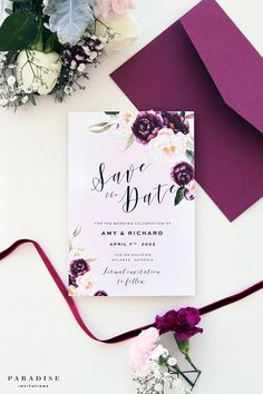 Margarette Burgundy Save the Date Cards, Maroon Watercolour Florals, Calligraphy Save the Dates, Burgundy Wedding, Custom Cards White Tuxedo Wedding, Burgundy Wedding, Calligraphy Save The Dates, Destination Wedding, Wedding Planning, Stationery Printing, Invitation Set, Wedding Stationery, Purple Wedding Invitations