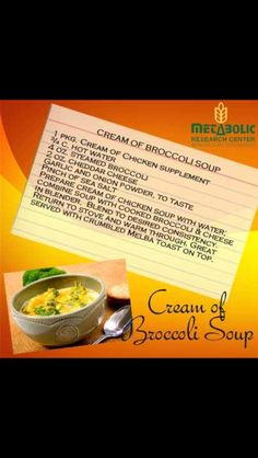 Metabolic Research Center cream of broccoli soup