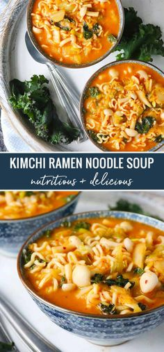 """""""Kimchi ramen noodle soup is full of mouth-watering, health-supporting ingredients like miso, kimchee, mushrooms, and dark leafy greens. Ramen Noodle Soup, Ramen Noodle Recipes, Ramen Noodles, Soup Recipes, Cooking Recipes, Recipes With Fideo Noodles, Noodle Salad, Kimchi Ramen, Kimchi Noodles"""