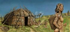 Reconstruction of a Neolithic house on the river plain of Millfield Basin, Northumbria by Mark Gridley