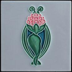 Gilliot & Cie Hemiksem - Art Nouveau tile with stylized flower