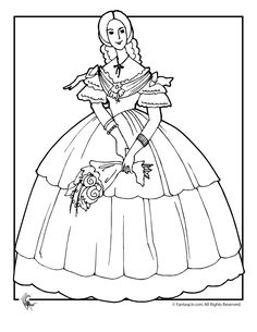 Victorian Dolls Coloring Pages Victorian Doll with Flowers Coloring Page – Fantasy Jr.