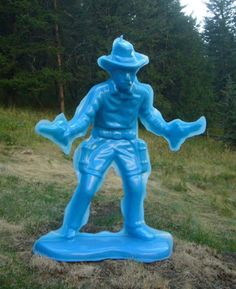 Blue Cowboy #3 (Double Gunslinger) | From a unique collection of figurative sculptures at http://www.1stdibs.com/art/sculptures/figurative-sculptures/