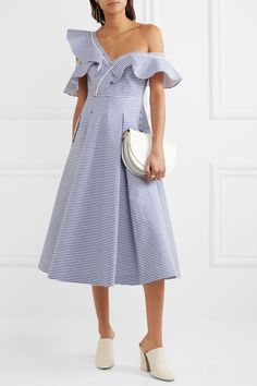 Self-Portrait | Off-the-shoulder striped cotton-poplin midi dress | NET-A-PORTER.COM
